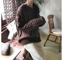 Cable Knit Casual Style Wool Rib Street Style U-Neck