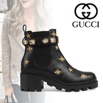 GUCCI Round Toe Casual Style Unisex Street Style Leather