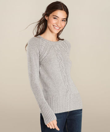 Crew Neck Cable Knit Casual Style Wool Street Style Knitwear