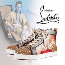 Christian Louboutin Leopard Patterns Blended Fabrics Studded Sneakers