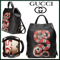 GUCCI Unisex 3WAY Plain Other Animal Patterns Leather Backpacks