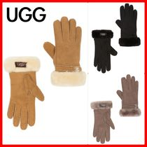 UGG Australia Casual Style Suede Plain Gloves Gloves