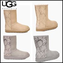 UGG Australia CLASSIC SHORT Round Toe Casual Style Fur Plain Ankle & Booties Boots