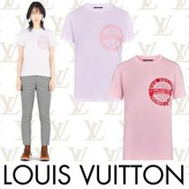 Louis Vuitton Crew Neck Short Plain Cotton Short Sleeves Cropped