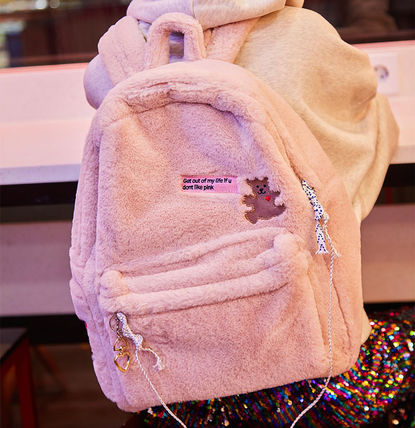 Casual Style Faux Fur A4 Backpacks