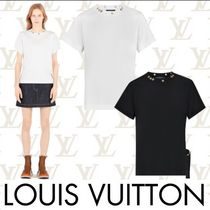 Louis Vuitton Crew Neck Short Studded Plain Cotton Short Sleeves Cropped