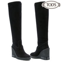 TOD'S Suede Plain Elegant Style Wedge Boots