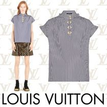 Louis Vuitton Short Stripes Studded Cotton Short Sleeves Elegant Style