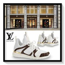 Louis Vuitton Monogram Plain Toe Rubber Sole Lace-up Casual Style