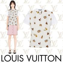 Louis Vuitton Crew Neck Short Blended Fabrics Chain Cotton Short Sleeves