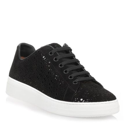 Round Toe Rubber Sole Lace-up Casual Style Suede Plain