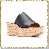 Chloe Camille Open Toe Casual Style Blended Fabrics Plain Leather