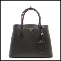 PRADA DOUBLE Casual Style Leather Handbags