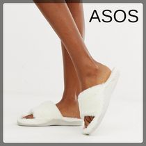 ASOS Open Toe Casual Style Faux Fur Plain Slippers