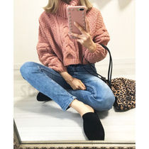 Cable Knit Short Plain Puff Sleeves Turtlenecks