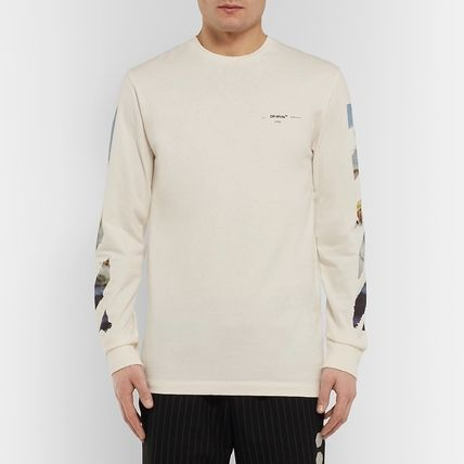 Off-White Long Sleeve Crew Neck Street Style Long Sleeves Cotton 2