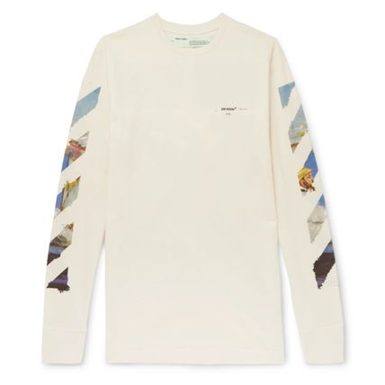 Off-White Long Sleeve Crew Neck Street Style Long Sleeves Cotton 4