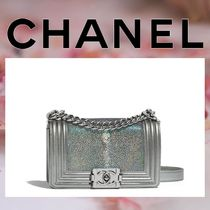 CHANEL BOY CHANEL Lambskin Chain Plain Elegant Style Handbags