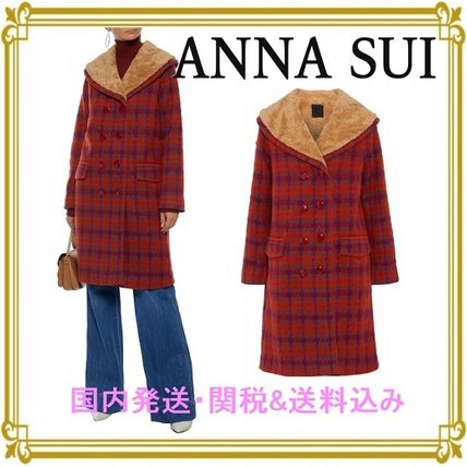 Other Check Patterns Casual Style Blended Fabrics Long Coats