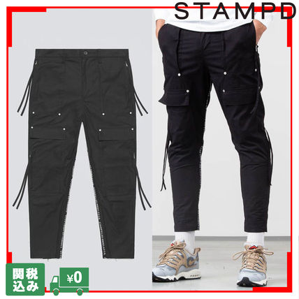Street Style Plain Fringes Cargo Pants