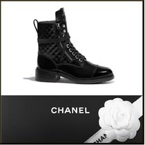 CHANEL Plain Block Heels Ankle & Booties Boots