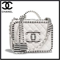 CHANEL Calfskin Blended Fabrics 2WAY Plain Elegant Style Handbags