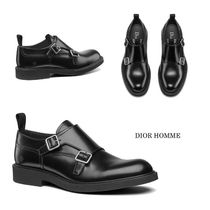 DIOR HOMME Monk Plain Leather Loafers & Slip-ons