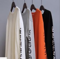 Unisex Street Style U-Neck Long Sleeves Cotton Oversized