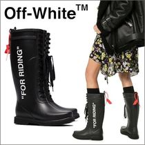 Off-White Round Toe Rubber Sole Rain Boots Boots