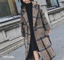 Other Check Patterns Casual Style Street Style Long Coats