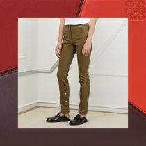LOEWE Casual Style Plain Leather Long Khaki