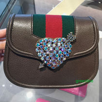 GUCCI Stripes Blended Fabrics 2WAY Leather With Jewels