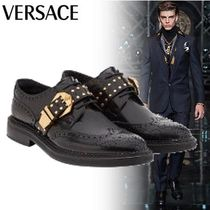 VERSACE Wing Tip Studded Plain Leather Oxfords