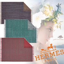 HERMES Blended Fabrics Fringes Geometric Patterns Throws