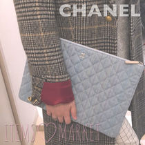 CHANEL Stripes Casual Style Unisex Bag in Bag Clutches