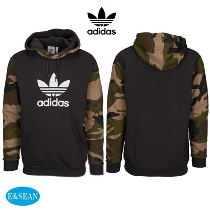 official photos 9a22b adec1 adidas 2018-19AW Pullovers Camouflage Street Style Long Sleeves Cotton