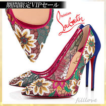 Christian Louboutin Flower Patterns Suede Blended Fabrics Pin Heels Handmade