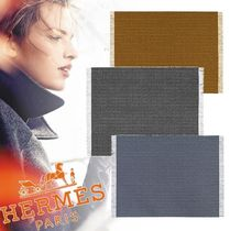 HERMES Blended Fabrics Plain Fringes Throws