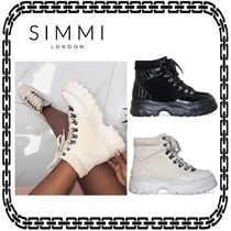 SIMMI Lace-up Casual Style Suede Street Style
