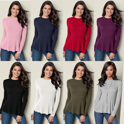 Crew Neck Peplum Long Sleeves Plain Medium Elegant Style