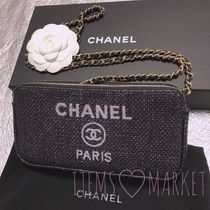 CHANEL DEAUVILLE Casual Style Canvas 2WAY Chain Shoulder Bags