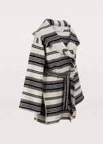 Christian Dior Stripes Wool Medium Fringes Wrap Coats
