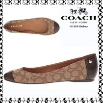 Coach Leopard Patterns Round Toe Casual Style Leather Ballet Shoes