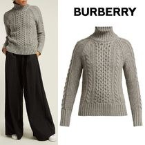 Burberry Cable Knit Casual Style Cashmere Long Sleeves Plain Medium