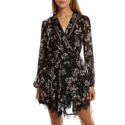 Flower Patterns Street Style Lace Dresses