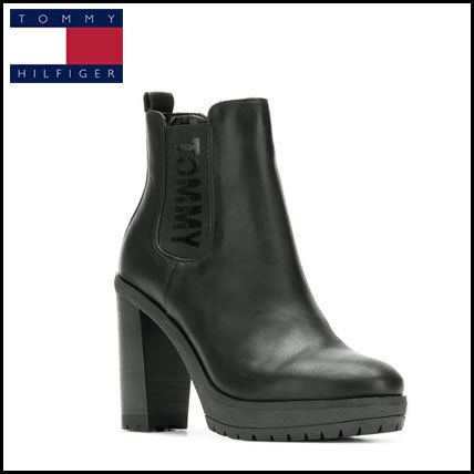 28587a7d4f2 Tommy Hilfiger 2018-19AW Plain Leather Elegant Style Chunky Heels (13234635)