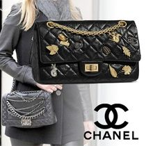 CHANEL Calfskin Studded 2WAY Chain Plain Elegant Style