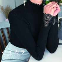 Casual Style Rib Long Sleeves Plain Medium High-Neck Lace