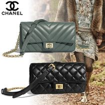 CHANEL Calfskin 2WAY Chain Plain Elegant Style Bags