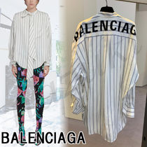 BALENCIAGA Stripes Casual Style Silk Long Sleeves Medium Oversized